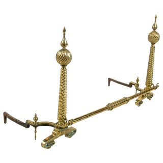 Late 19th Century Vintage Monumental Brass Andirons- A Pair For Sale