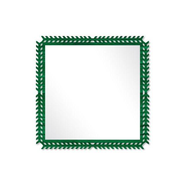 Fleur Home x Chairish Toulouse Trellis Mirror in Malachite, 24x24 For Sale - Image 4 of 4