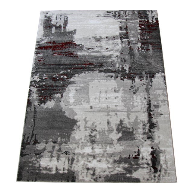 """Contemporary Gray & Red Abstract Rug - 6'7"""" x 9'7"""" - Image 1 of 8"""