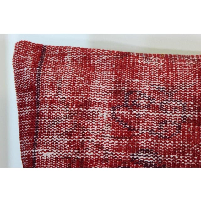 Red Over-Dyed Rug Pillow Covers - A Pair - Image 5 of 7