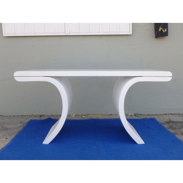 Wood 1970's Mid-Century Modern White Lacquer Console Table For Sale - Image 7 of 7