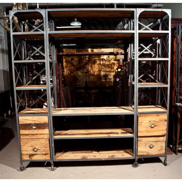 Industrial Wood & Metal Entertainment Center - Image 2 of 10