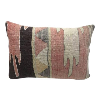 Vintage Turkish Kilim Lumbar Pillow Cover For Sale