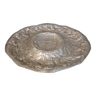 Arthur Court Signed Chip & Dip Pewter Serving Tray With Bunny Rabbits and Cabbage Leaves For Sale