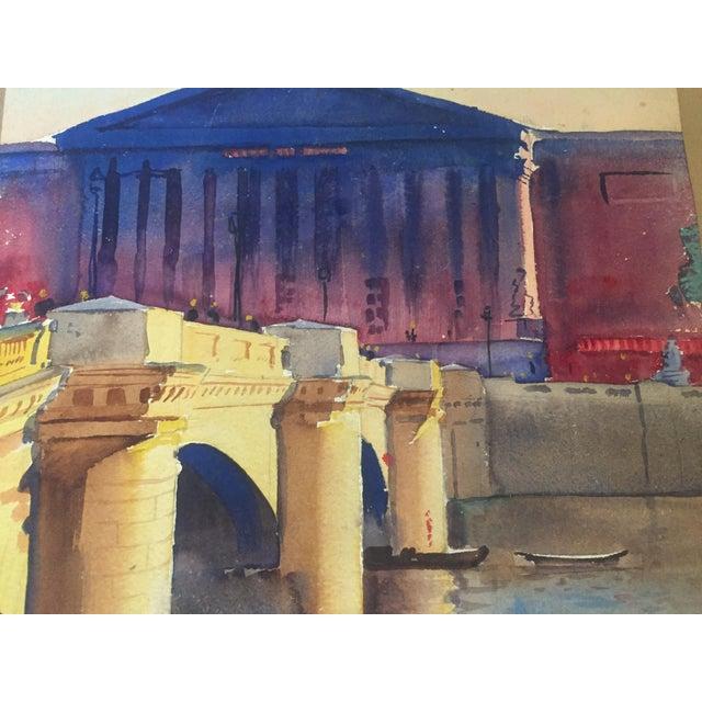 David L. Swasey Original Palais Bourbon, Paris on Reverse Side Watercolor Seascape Painting For Sale - Image 12 of 13