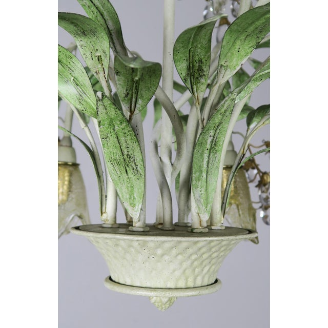 Green Painted Tole and Murano Glass Chandelier C. 1940's For Sale - Image 8 of 10