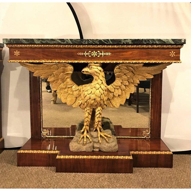 Federal Pair of Monumental Federal Style Console Table with Carved Opposing Eagles For Sale - Image 3 of 10