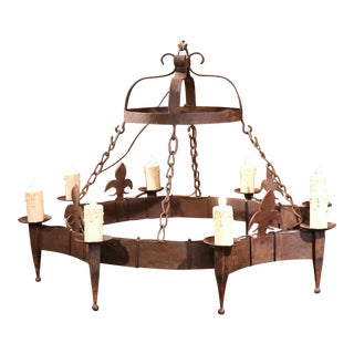 19th Century French Eight-Light Wrought Iron Chandelier with Fleurs de Lys