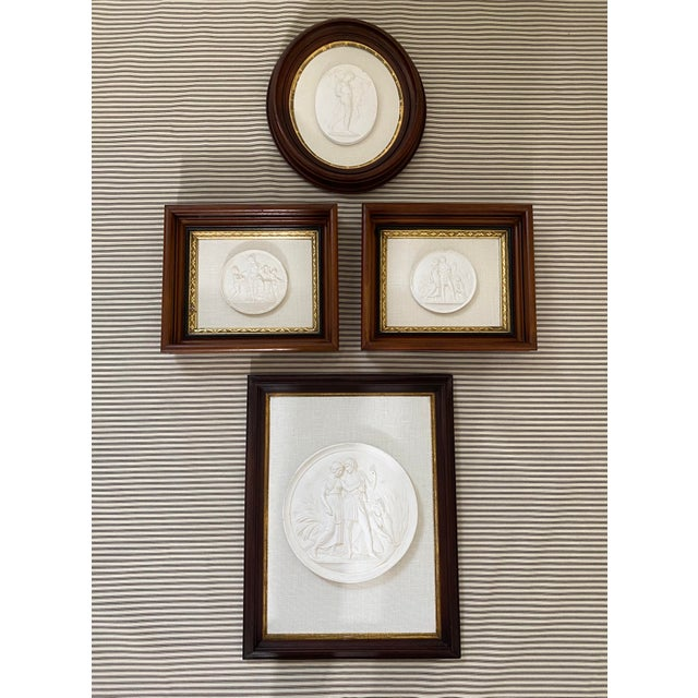 Antique Plaster Intaglio Plaque Framed in Antique Walnut and Gilt Frames - a Pair For Sale - Image 12 of 13