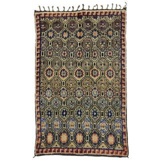"Vintage Moroccan Mid-Century Modern Berber Rug - 5' x 7'9"" For Sale"