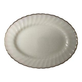 Anchor Hocking Milk Glass & Gold Rimmed Serving Platter For Sale