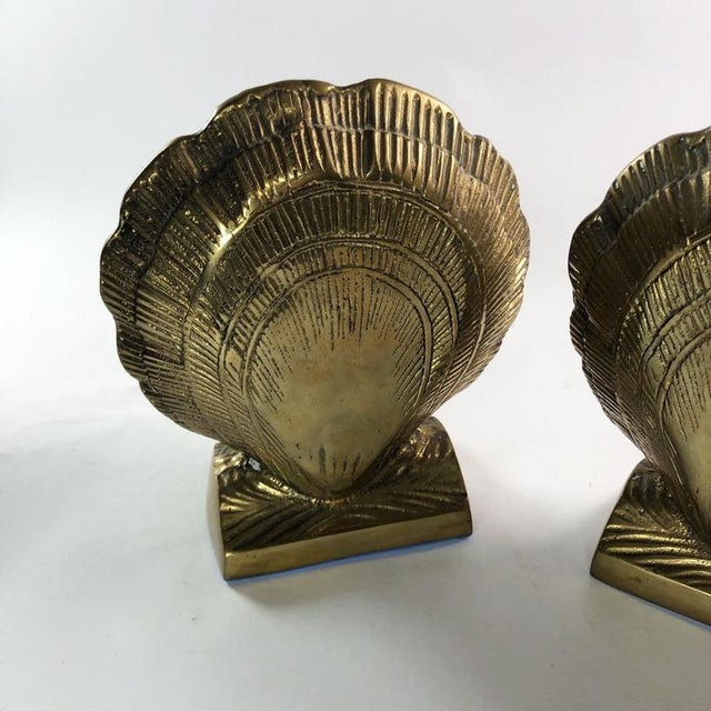Mid-Century Modern Vintage Mid-Century Brass Clamshell Bookends - a Pair For Sale - Image 3 of 7