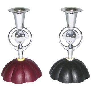 Alessi Alessandro Mendini 1999 Italian Red and Blue Chrome Candlesticks - a Pair For Sale