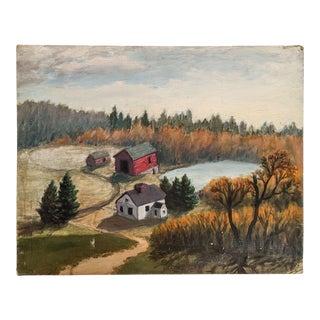 Vintage Oil Landscape of an Old Farm Homestead For Sale