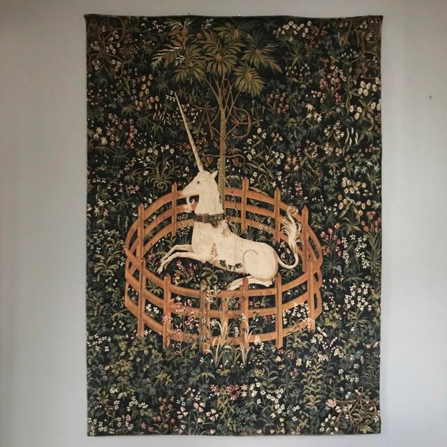 """Vintage 1970's French tapestry depicting """"The Unicorn In Captivity."""" This is a high quality reproduction of the last..."""