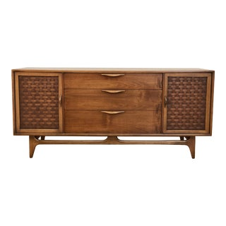 1960s Danish Modern Lane Perception Compact Double Bank Sideboard For Sale