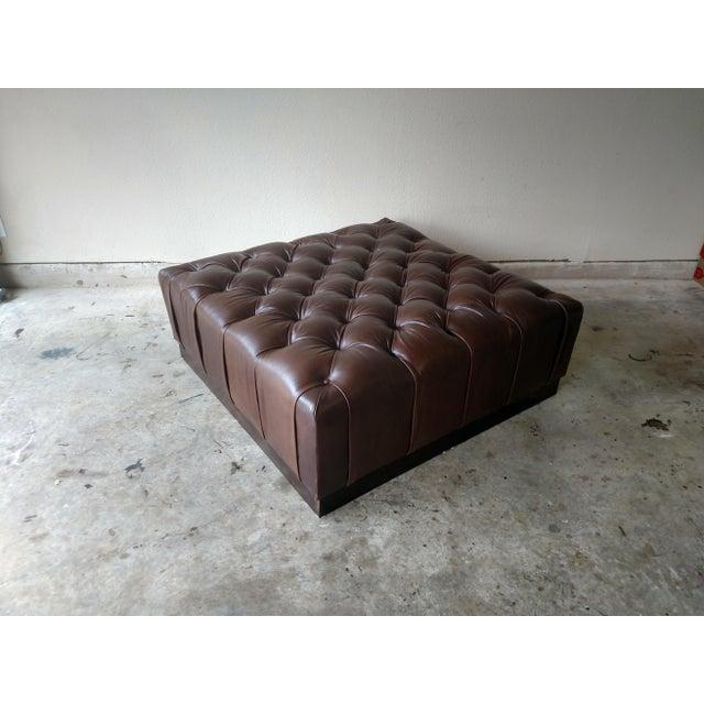 Gambrell Renard Tufted Esspresso Leather Ottoman - Image 2 of 4