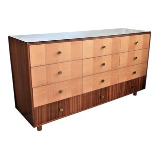 Rare 1950s Mid-Century Modern Satinwood and Walnut Dresser by Laszlo Hoenig Millennial