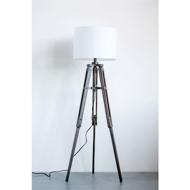 Mid-Century Modern Tripod Wooden Floor Lamp For Sale - Image 3 of 5