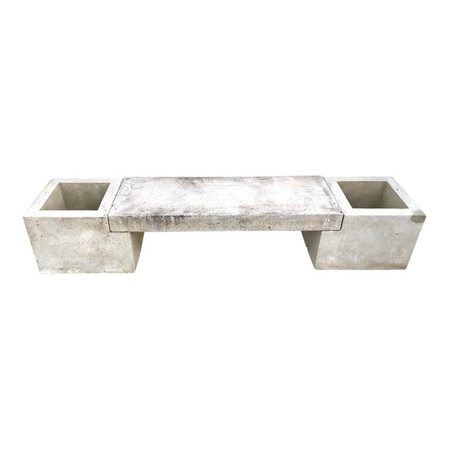 Mid Century Modern Concrete Planter Bench For Sale