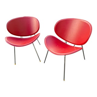 Sy Red Leather Guest Chairs - a Pair For Sale