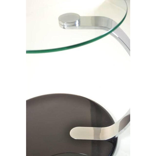 Pair of Modernist Chrome and Glass Tables For Sale - Image 9 of 10