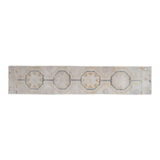 """Distressed Oushak Rug Runner With Muted Soft Colors 2'7"""" X 12'10"""" For Sale"""