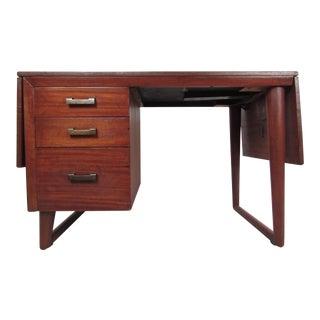 Sculptural Mid-Century Modern Drop-Leaf Writing Desk For Sale