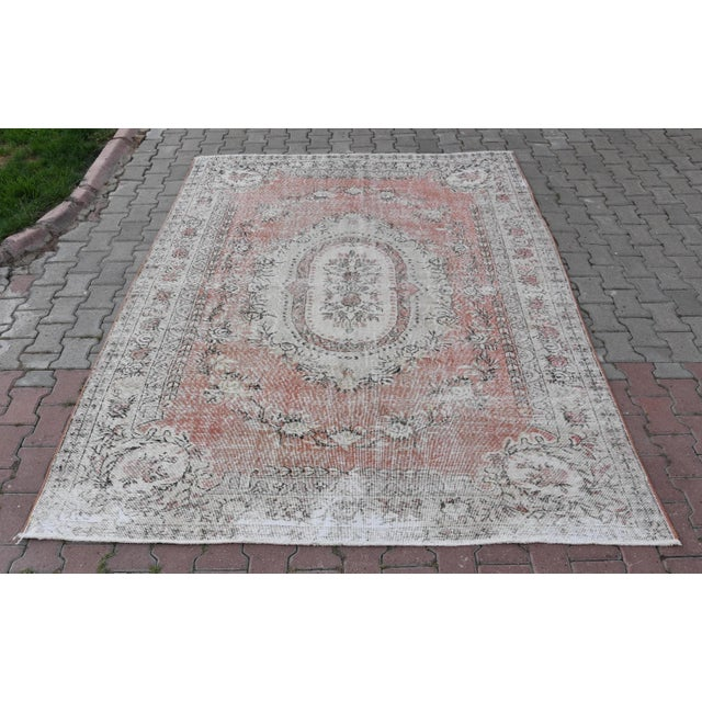 Nomadic Antique Handmade Muted Anatolian Faded Salmon Carpet - 6′9″ × 9′2″ - Image 2 of 10