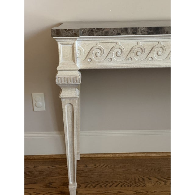 Stone Vintage Louis XVI Style Henredon Ivory/Brown Marble Console For Sale - Image 7 of 13