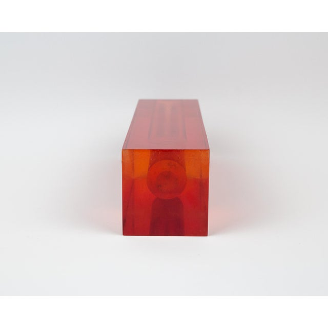 Orange Red Orange Rectangular Lucite Bud Vase For Sale - Image 8 of 12