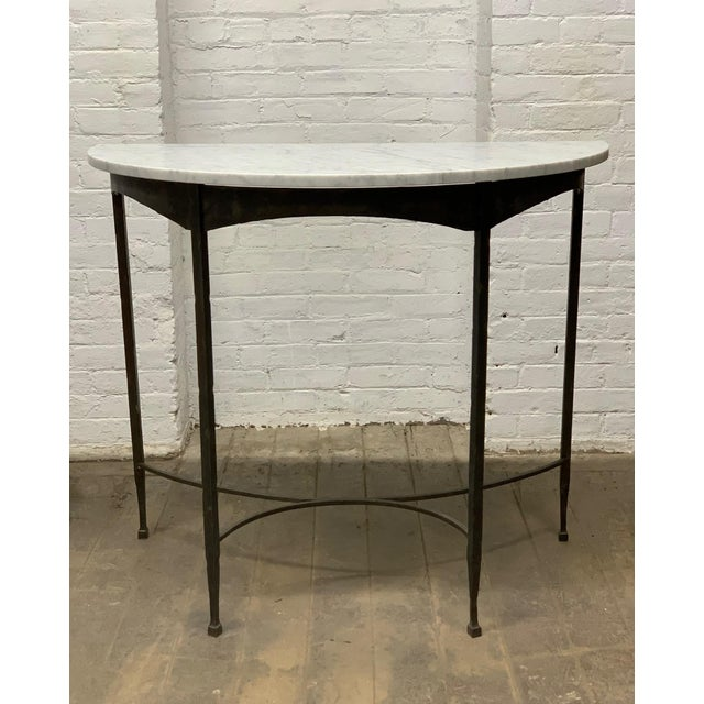 French Pair French Wrought Iron and Carrara Marble-Top Demilune Tables For Sale - Image 3 of 8