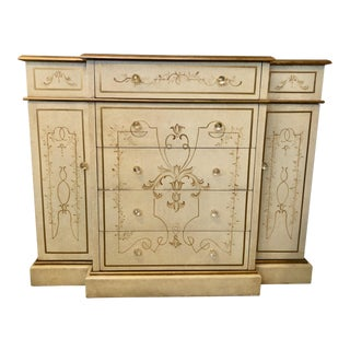 Cream Painted Credenza With Glass Knobs