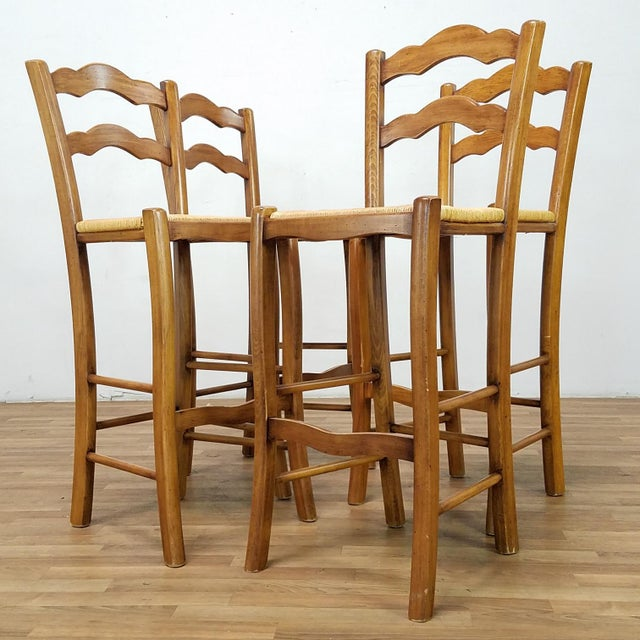 Italian Rattan and Wicker Barstools - Set of 4 For Sale In Los Angeles - Image 6 of 13