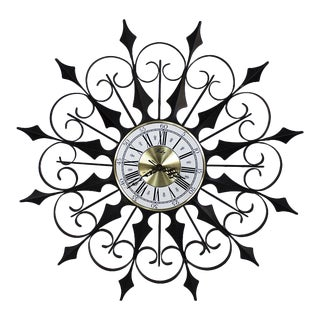 Mid Century Modern Welby Black Metal Atomic Starburst Wall Clock For Sale