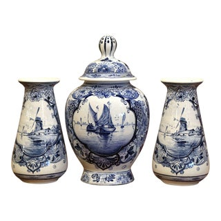 Early 20th Century Dutch Blue and White Maastricht Delft Mantel Three-Piece Set For Sale