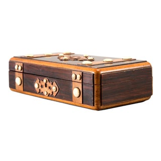 French Inlaid Mahogany Game Box with White Stones For Sale