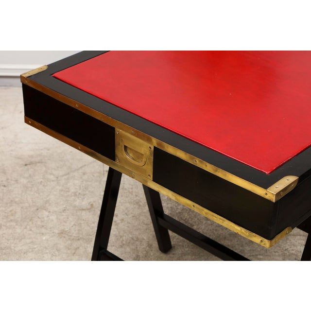 French Ebonized Campaign Desk Red Leather Top And Applied Brass For Sale - Image 4 of 8