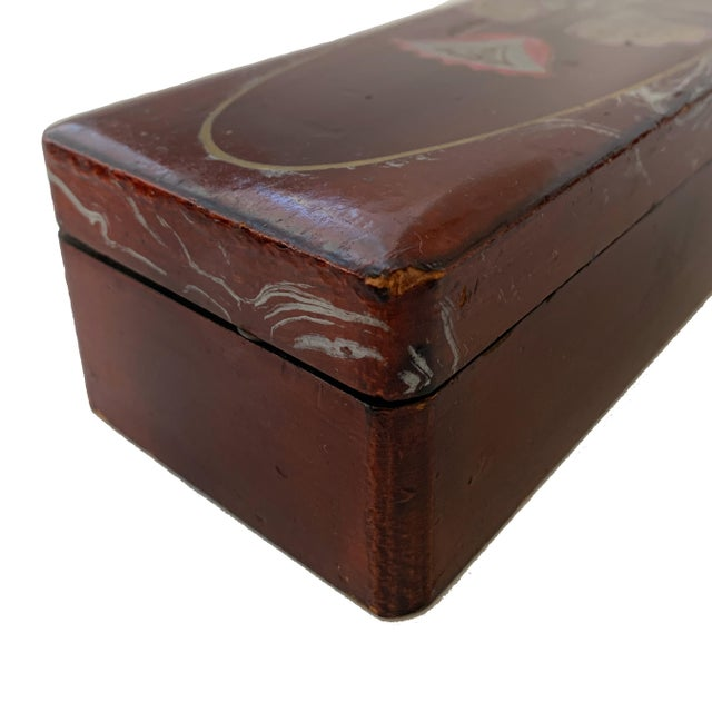 Wood Vintage Lacquer Gloves Jewelry Box Hand Painted For Sale - Image 7 of 9