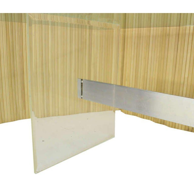 Mid-Century Modern Mid Century Modern 3/4 Thick Glass Top Lucite Base Conference Dining Table For Sale - Image 3 of 9