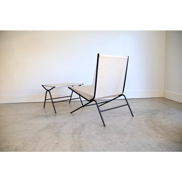 White Allan Gould String Chair & Ottoman For Sale - Image 8 of 11