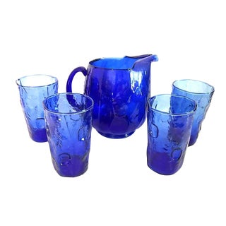 Anchor Hocking Vintage Thumbprint Cobalt Blue Glassware Pitcher and Drinking Glass Set - 6 Pc