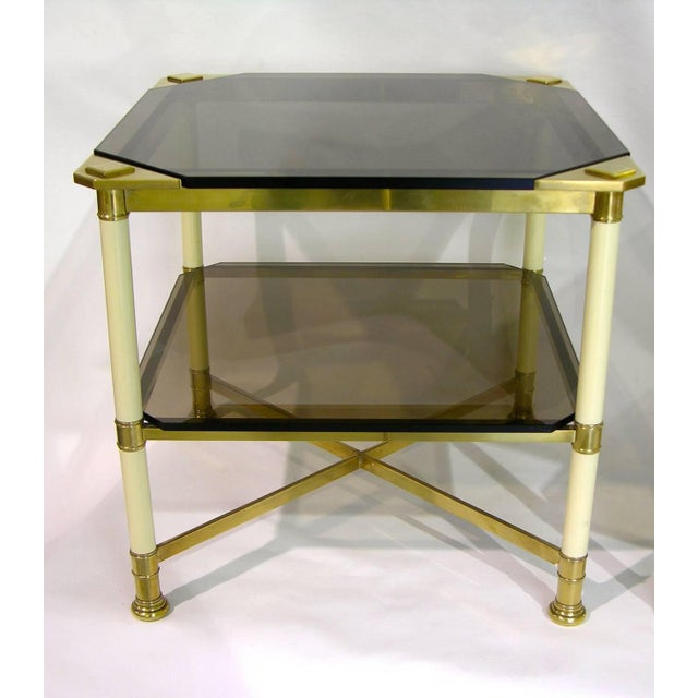 1970s Vivai Del Sud 1970s Smoked Glass and Ivory Brass Side Tables - a Pair For Sale - Image 5 of 11