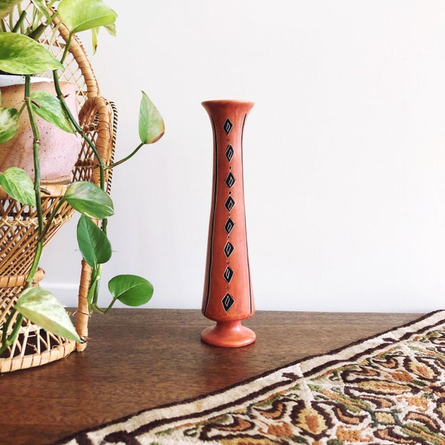 Ceramic African Geometric Orange and Black Hand-Painted Vase For Sale - Image 7 of 7