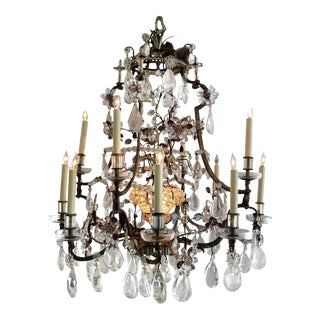 1920s Maison Bagues Louis XV 12-Candle + 1 Chandelier in Rock Crystal, Amethyst, Hand Cut Crystal Prisms 20s For Sale