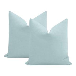 "22"" Spa Blue Performance Linen Pillows - a Pair For Sale"