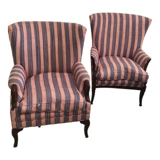 Antique Chairs With John Robshaw Vintage Stripe Cora Fabric - a Pair For Sale