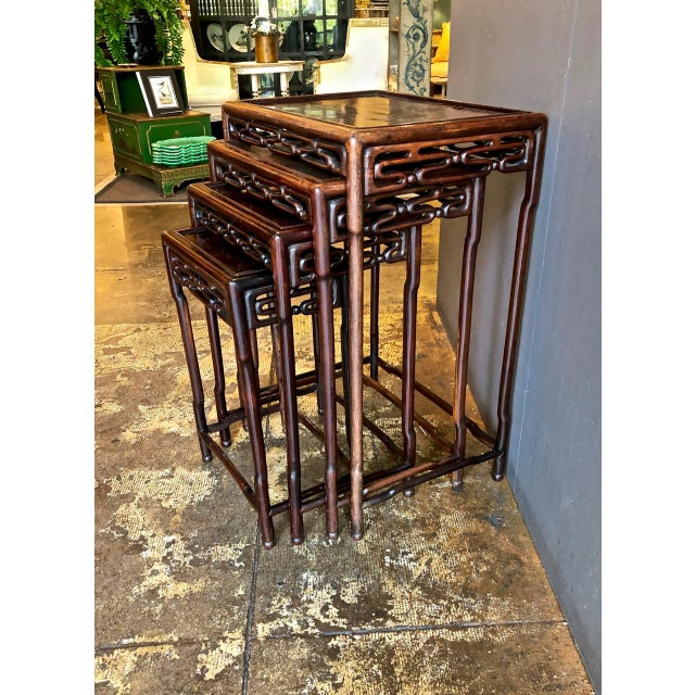 Chinese Rosewood Nesting or Quartetto Tables - Set of 4 For Sale - Image 4 of 10