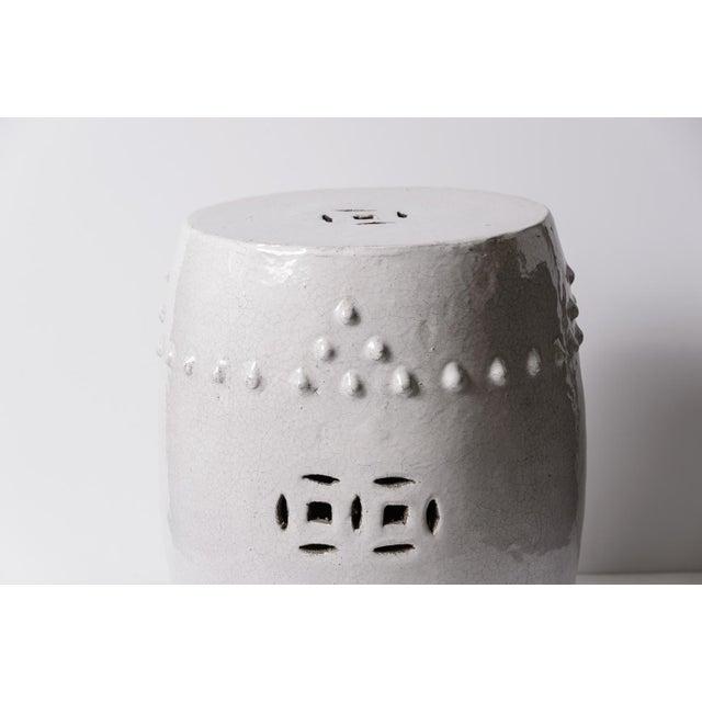 Antique Chinese White Glazed Crackled Terra Cotta Garden Stool For Sale - Image 4 of 13