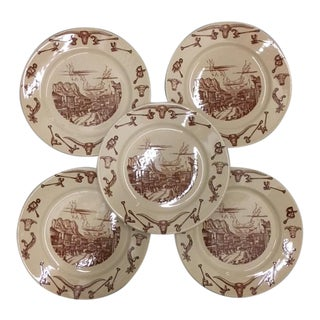 Vintage 1950s Wallace El Rancho China Dinner Plates - Set of 5